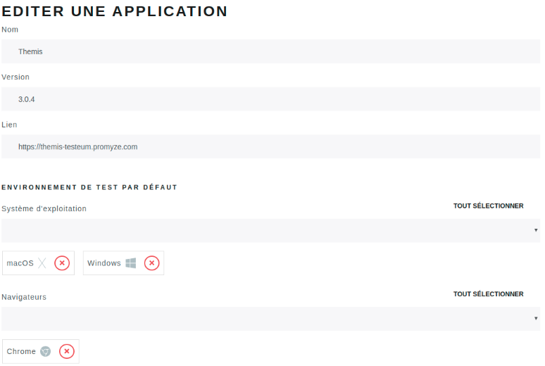 Creating the application in Testeum