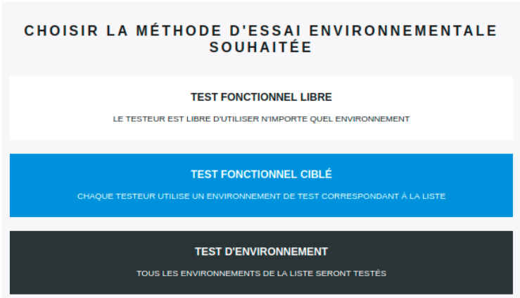 List of test case runtime environments